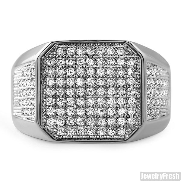 White Gold Finish Octagon Iced Out Mens Ring