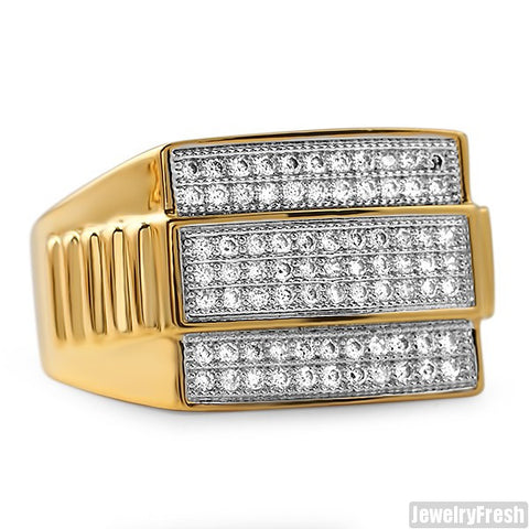 18K Gold Plated Presidential CZ Mens Ring