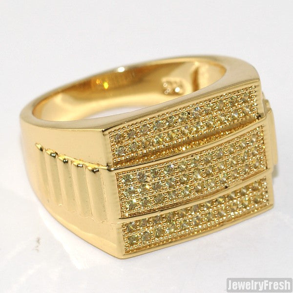 Gold Finish Canary Executive CZ Mens Ring