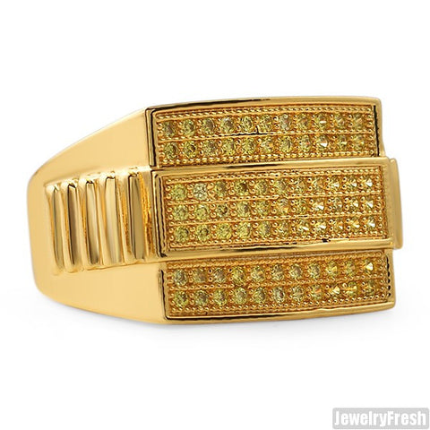 Gold Finish Canary Presidential CZ Mens Ring