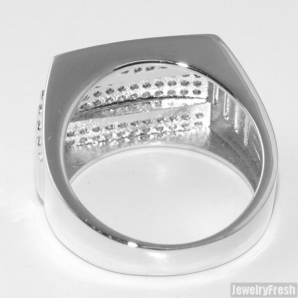 White Gold Finish Executive CZ Mens Ring
