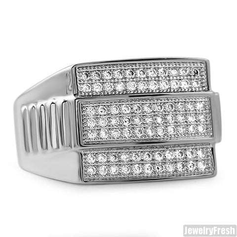 White Gold Finish Presidential CZ Mens Ring