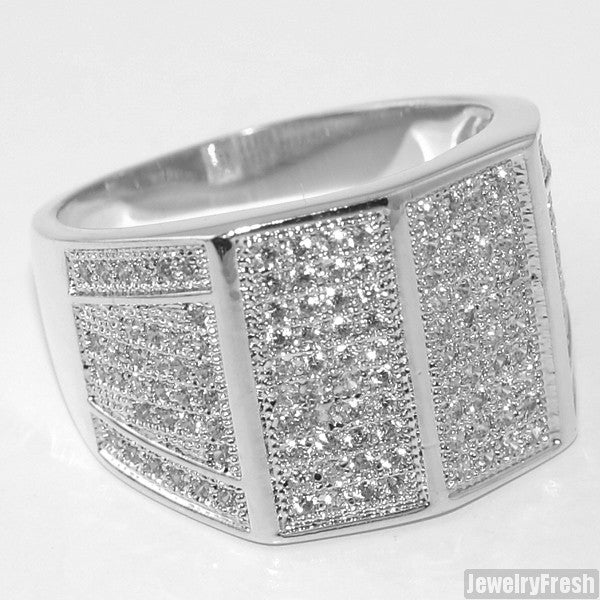 Platinum Tone Celebrity Status VVS Mens Ring