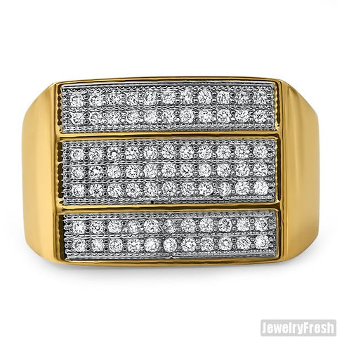 18K Gold Finish 3 Bar Mens Lab Made VVS Ring