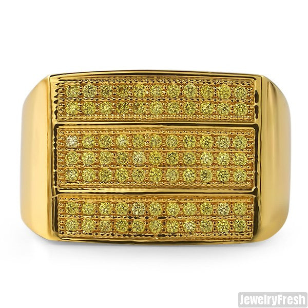 Gold Canary 3 Bar Mens Lab Made VVS Ring