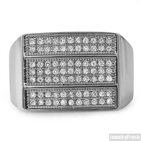 Platinum Tone 3 Bar Mens Lab Made VVS Ring