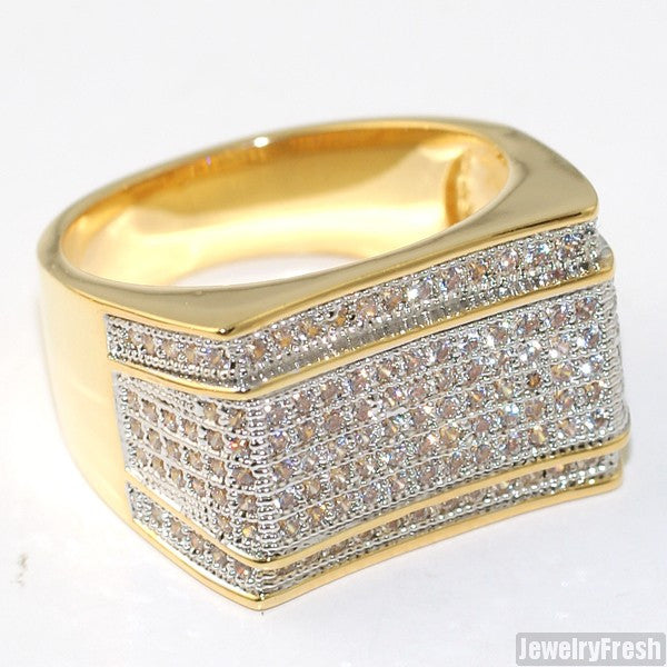 18K Gold Finish Mens Lab Made Imperial Ring