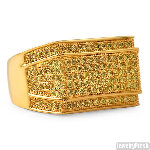 18K Gold Finish Yellow Mens Lab Made Imperial Ring