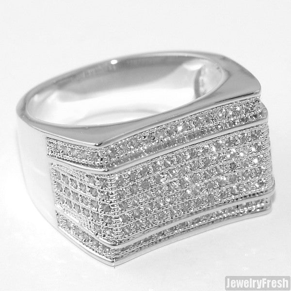 White Gold Finish Mens Lab Made Imperial Ring