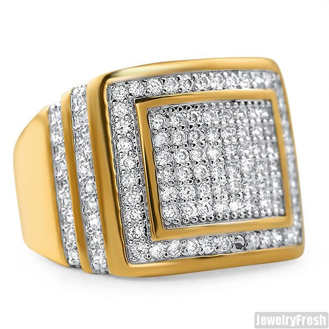 Mens CZ Rectangular Step Ring Yellow Gold Finish