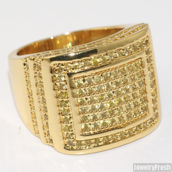 Mens CZ Rectangular Step Ring Canary Gold Finish
