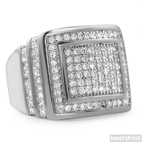 Mens CZ Rectangular Step Ring Rhodium Finish