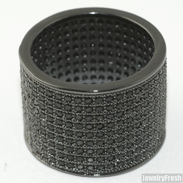 Black Finish 9 Row Micropave Iced Out Wide Ring