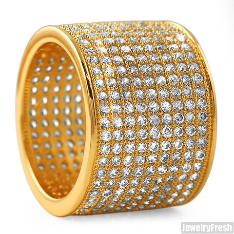 18k Gold Finish 9 Row Micropave Iced Out Wide Ring