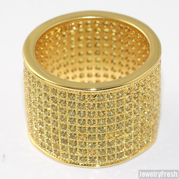 Gold Canary Yellow 9 Row Micropave Iced Out Wide Ring