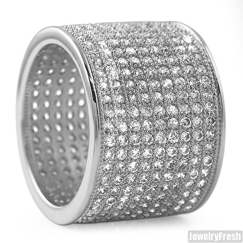 Rhodium 9 Row Micropave Iced Out Wide Ring