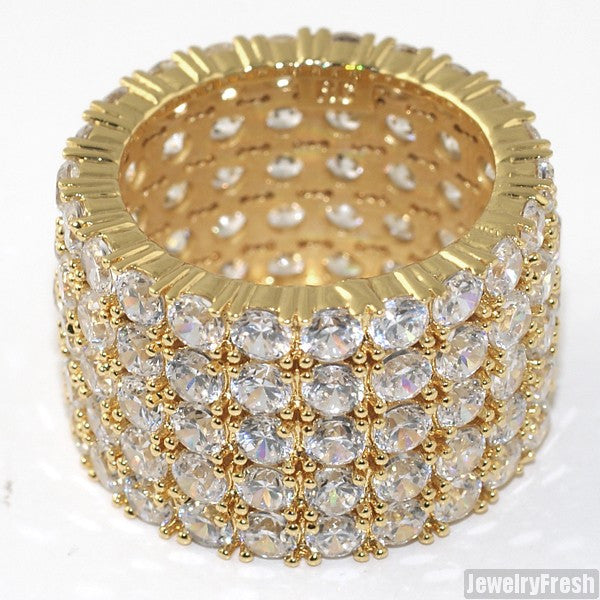 18k Gold Finish 5 Row Stone Iced Out Eternity Ring