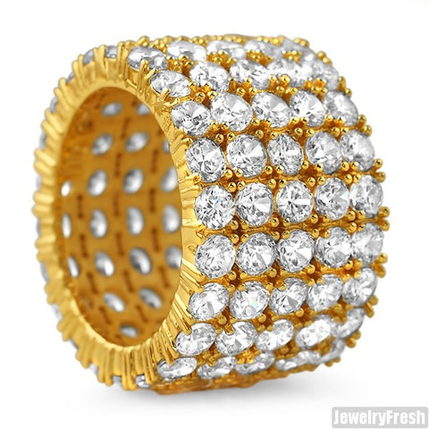18k Gold Finish 5 Row Stone Mens Iced Out 360 Ring