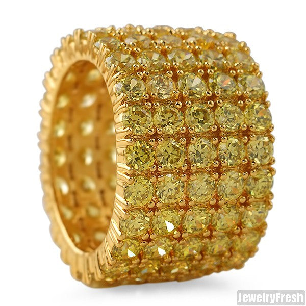 18k Finish Canary 5 Row CZ Iced Out 360 Ring