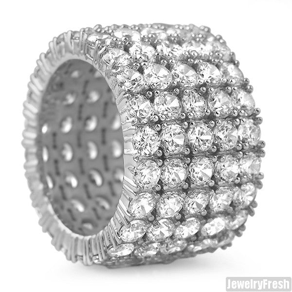 White Gold 5 Row CZ Iced Out Eternity Ring