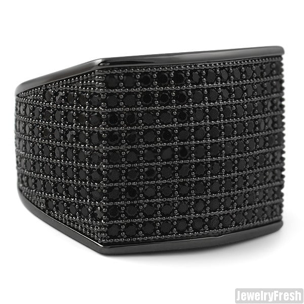Simple Large Micropave 360 Iced Out Ring Black