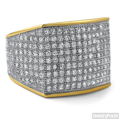 Simple Large Micropave 360 Iced Out Ring Gold Finish