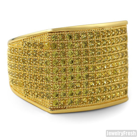 Simple Large Micropave 360 Iced Out Ring Canary