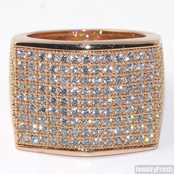 Simple Large Micropave 360 Iced Out Ring Rose Gold