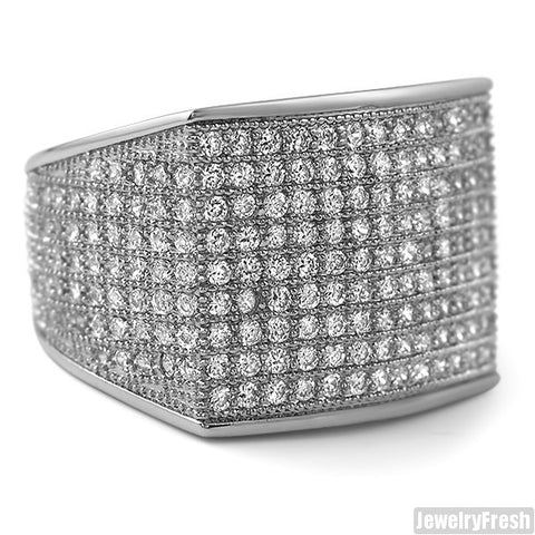 Simple Large Micropave 360 Iced Out Ring Rhodium
