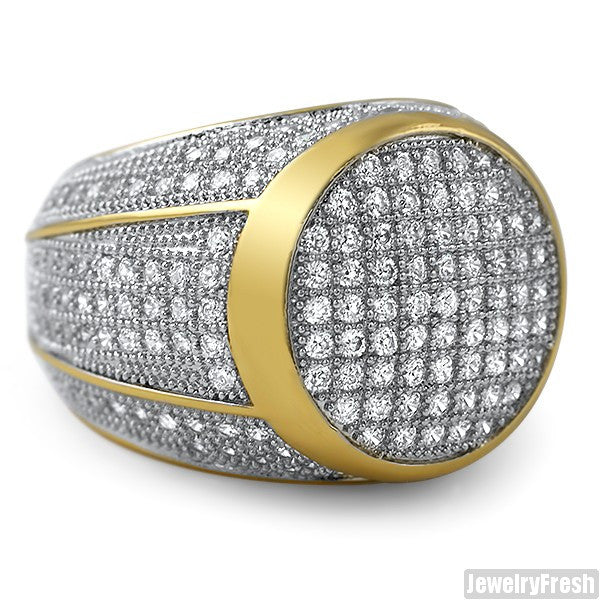 Gold Finish Lab Made Simulated Diamond 360 Round Ring