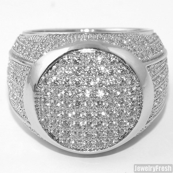 Rhodium Lab Made Simulated Diamond 360 Round Ring