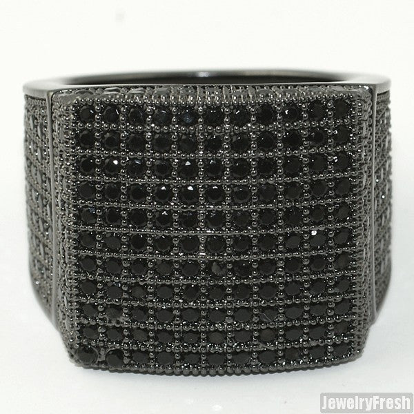 All Black Large Square Iced Out Micropave 360 Ring