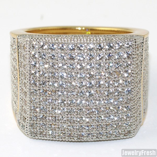 Gold Finish Large Square Iced Out Micropave 360 Ring