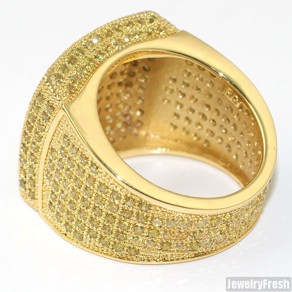 Gold Canary Large Square Iced Out Micropave 360 Ring