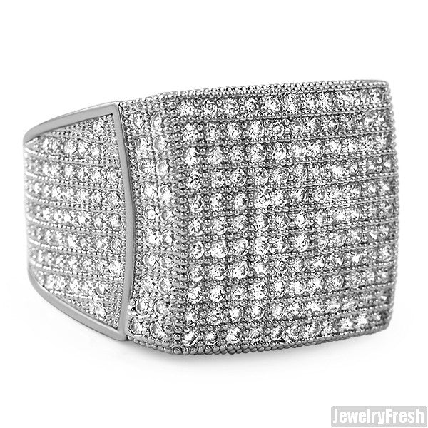 Rhodium Large Square Iced Out Micropave 360 Ring