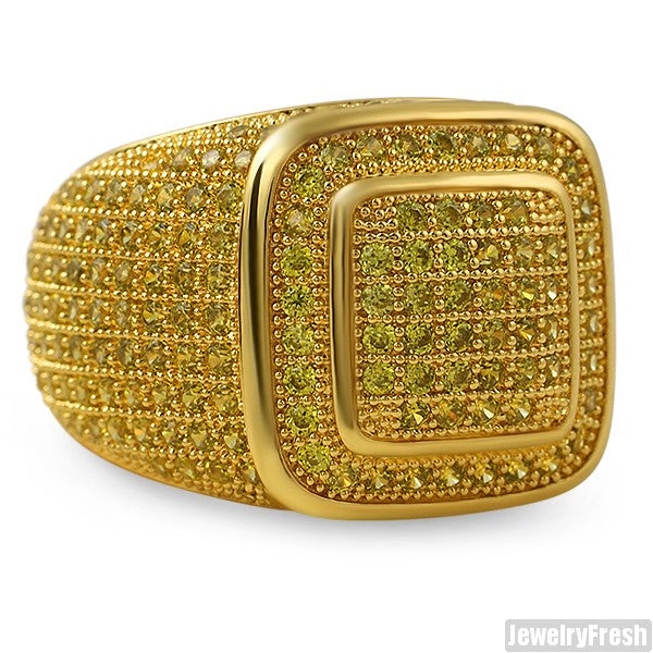 Gold Canary CZ 360 Iced Out Championship Ring