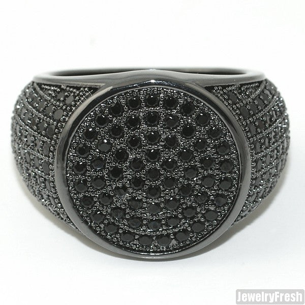 Simple Round Micropave 360 Iced Out Mens Black Ring