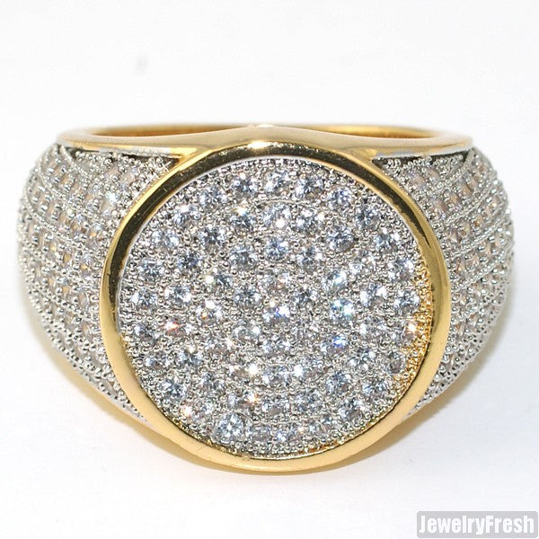 Simple Round Micropave 360 Iced Out Mens Gold Ring
