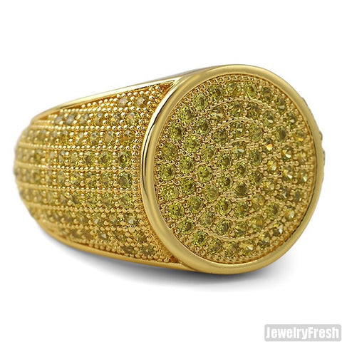 Simple Round Micropave 360 Iced Out Canary Gold Ring