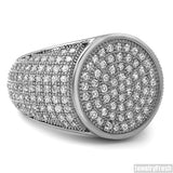 Simple Round Micropave 360 Iced Out Rhodium Ring