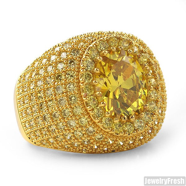 Large Oval Stone Gold Canary Lab Made Ring