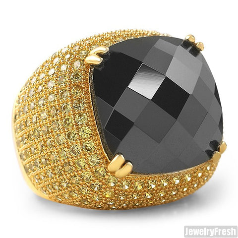 10 Carat Black Stone Lemonade Hip Hop Ring