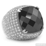 10 Carat Black Stone Rhodium Hip Hop Ring