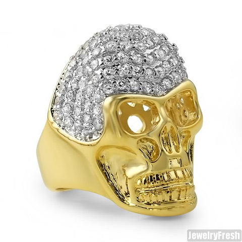 14K Gold Tone Mens Iced Out 3D Skull Ring
