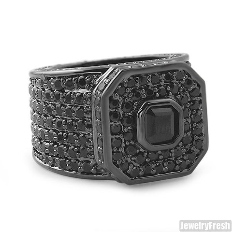 All Black Asscher Cut Boss Ring