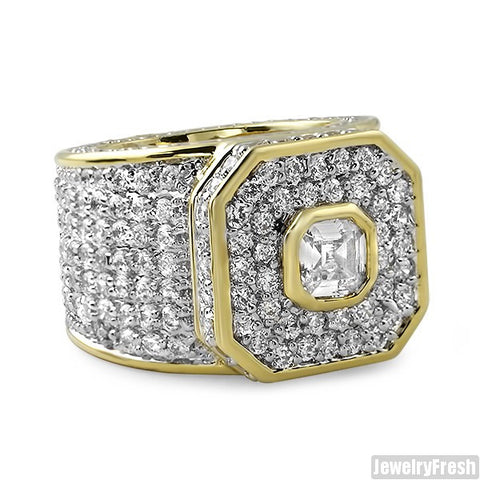 14K Gold Finish Asscher Cut Boss Ring