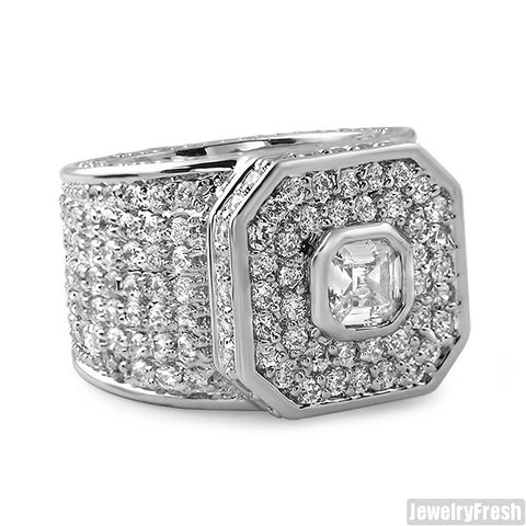 White Gold Finish Asscher Cut Boss Ring
