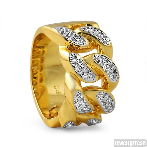 14k Gold Tone Lab Made Miami Cuban Ring