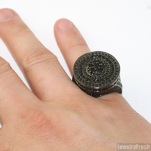 Black Jumbo CZ Custom Medallion Ring