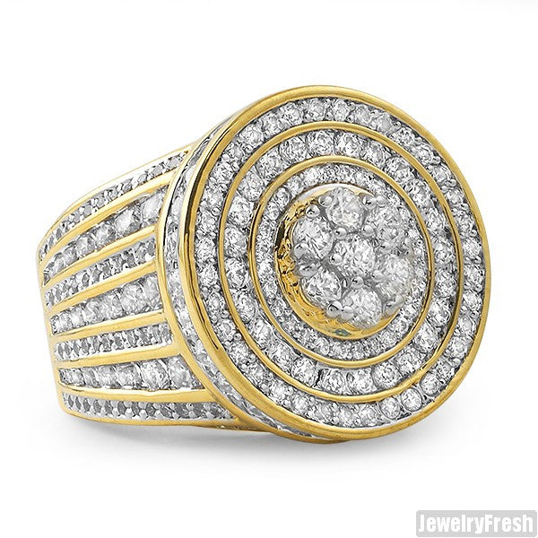 Gold Sterling Silver Jumbo CZ Medallion Ring